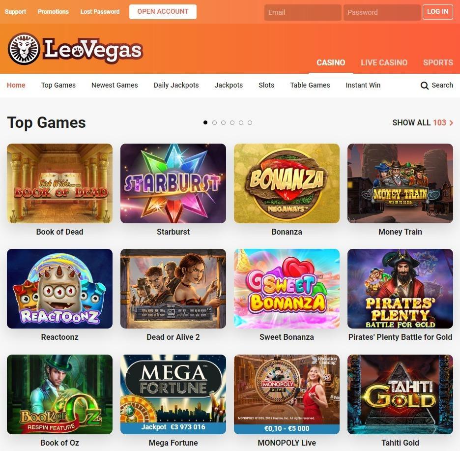 Azartgambler leovegas-casino-top games